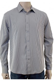 DAVID'S L/S GREY PIN STRIPE SHIRT