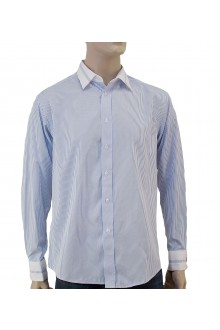MICHAEL'S L/S BLUE PIN STRIPE SHIRT WITH COLLAR AND CUFFS TRIMMING