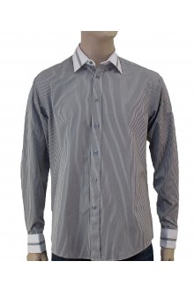 MICHAEL'S L/S GREY PIN STRIPE SHIRT WITH COLLAR AND CUFFS TRIMMING