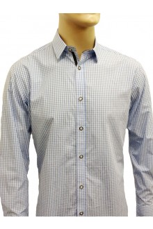 HENRY'S L/S BLUE MINI CHECK SHIRT
