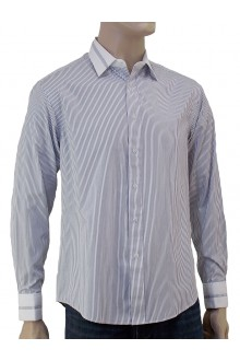 MICHAEL'S L/S VIOLET PIN STRIPE SHIRT WITH COLLAR AND CUFFS TRIMMING