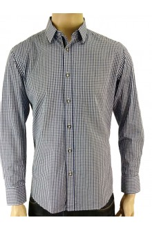 HENRY'S L/S NAVY MINI CHECK SHIRT